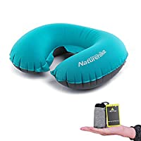 Travelling Neck Support Pillow by Hikenture- Lightweight Inflatable Pillow- Portable U Shape Neck Support Cushion for Camping, Hiking, Office Nap, Home, Car, Travel Airplane, Train and Bus(Light Blue)
