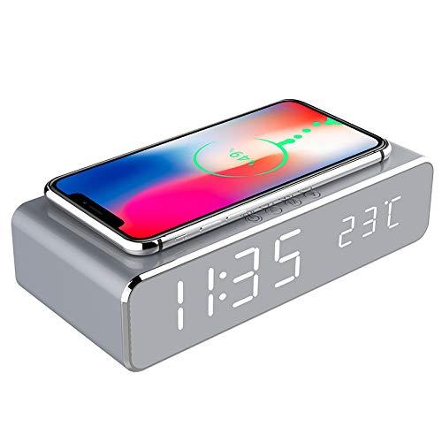 Jiadi Reloj Despertador de Carga inalámbrica, Reloj Despertador Digital portátil 2 en 1 con Cargador y termómetro inalámbricos Qi, diseño Moderno y Elegante