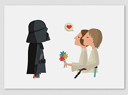 """Ilustración """"¡Felicidades, papá! (Luke & Leia)"""". Lámina disponible en dos medidas: A4 / A3. Regalo para el Día del padre."""