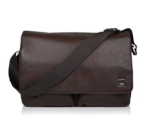 Knomo 154-304-BRN Brompton Kobe Soft Messenger Tasche aus Leder kombiniert mit Nylon, aus recycelten PET-Flaschen für 15 Zoll Notebooks | Braun (Knomo Laptop-taschen)