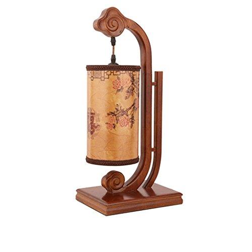 NJ Tischleuchte- Chinesische antike solide Holz Tischlampe Wohnzimmer antiken alten Nachahmung Schaffell Lampenschirm dekorative Lampen Studie Schlafzimmer Nachttischlampe -
