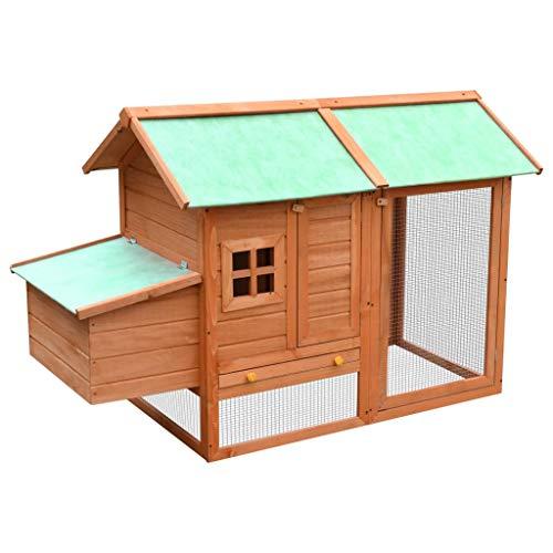 Tidyard gabbia per polli in legno massello di pino e abete 170 x 81 x 110 cm marrone e verde