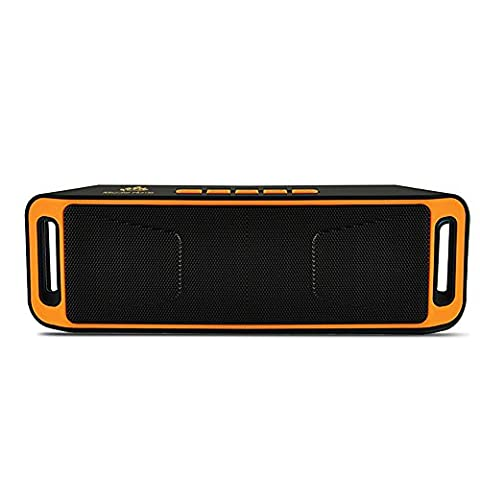 Micrael Home Wireless Ultra Portable Bluetooth Speaker with Two Passive Subwoofers Support Micro TF SD Card Built-in Mic FM Radio - Orange