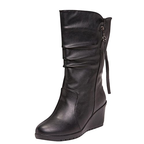 Damenschuhe,DOLDOA Winter Kunstpelz gefüttert Wildleder Reißverschluss Flache Stiefel Gr.33-38 (EU:36, Schwarz,Flache Stiefel) - Wildleder Slouchy Boot