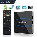 H96 Mini+ TV Box Smart Android 7.1 Amlogic S905W Quad Core 2GB RAM/16GB ROM Admite 4K Ultra HD H.265, USB*2, HDMI, 2.4GHz WiFi Media Player, Web Set-Top Box