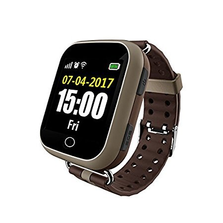 Elder's GPS Tracker with Heart Rate Touch screen Smart Wrist Watch ,GSM & WIFI System. (For Senior Citizen or disabled peoples --Coffee Color)