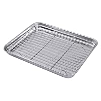 2 Pieces One Set Rectangular Baking Tray Draining Oil with Grid Rack Stainless Steel Baking Pan Sheet with Removable Cooling Rack (23x17x2.5 cm)