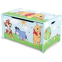 Delta Children - TB84687WP - Winnie l'Ourson - Coffre à Jouets en Bois