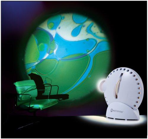 Mathmos Space Projektor in Weiß mit verschiedenen Lavalampen Effekten