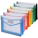 Ipow 6PCS Pochette Plastique A4 à Bouton Pression Polypropylène Porte-document Extensible Fichier Document Chemise Mettre au plus 800 Feuilles, Classer Papiers Fente pour Carte - 6 Couleurs