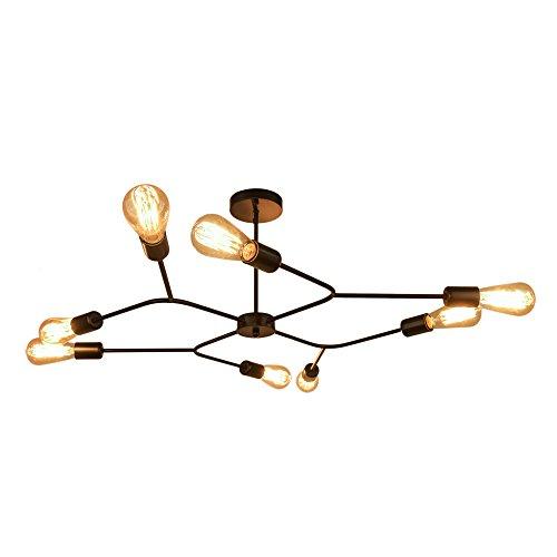 OYI Deckenleuchte Kronleuchter 8 Flammig Deckenlampe Lüster Schlafzimmer Wohnzimmer Esszimmer Büro Lampe Metall Schwarz