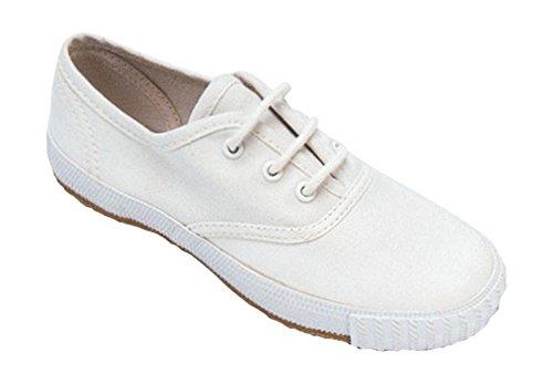 Mirak Ladies Morris Lace-Up Textile Plimsoll Sneaker Trainer White Blanc