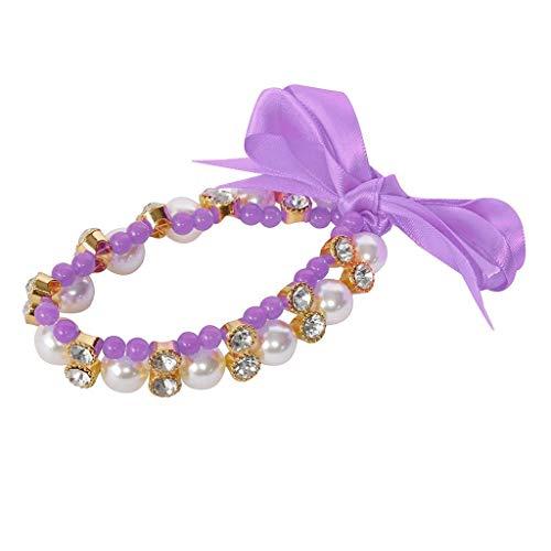 hiny Dog Strass Halskette Hundehalsband Ribbon Perle Stil Komfortabel und prägnant (s Lila) ()