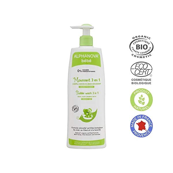 Alphanova Bebe-Organic 3 In 1 Baby Bubble Wash (500ML)