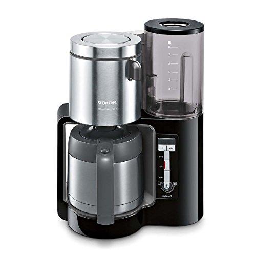 Siemens TC86503 Kaffeemaschine (1100 Watt, optimales Kaffeearoma, Timer-Funktion, abnehmbarer Wassertank, automatische Abschaltung) schwarz - Schwarz Automatische Kaffeemaschine