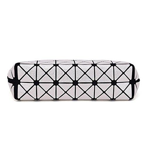 Damen Neue Kettenbeutel Geometrie PU Falttaschen Schulter Diagonal Tasche Brown