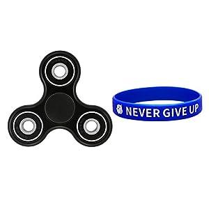 Amnzone Tri-Spinner Fidget Spielzeug mit Hybrid-Keramik und Stahl Lager Stress Reducer - ideal für ADD, ADHS, Angst und Autismus Erwachsene Kinder (Schwarz)