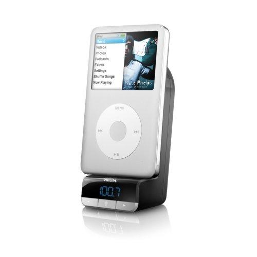 Philips FM-Transmitter für iPod (Intellitune mit 6 Stationsspeicher, Kfz-Ladegerät 12V inkl. Dockingstation, OLED-Display) schwarz Ipod-dock Fm-transmitter