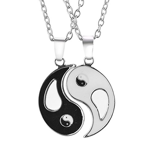 Outflower - set di ciondoli in acciaio inox tai chi yin e yang, coppia, con collana (confezione da 2)