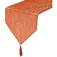 Tischläufer, FARBE wählbar, Damast Steifen Textil, 30x160 cm, Terracotta, Beautex