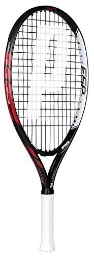 Prince Warrior 23 ESP - Raqueta de tenis para niños, color negro / rojo, talla 0