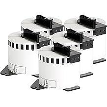 5x compatible Etiquetas continuas DK22205 blanco para Brother impresora de etiqueta QL1050 / QL1060 / QL500, QL550, QL560, QL570, QL580, QL650, QL700, QL710, QL720 / 62mm x 30.48m