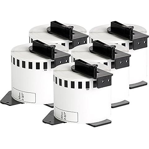 5x compatible Etiquetas continuas DK22205 blanco para Brother impresora de etiqueta QL1050 / QL1060 / QL500, QL550, QL560, QL570, QL580, QL650, QL700, QL710, QL720 / 62mm x
