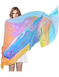 23619d67718 COOSUN Portrait arc en ciel de soie écharpe magique Unicorn légère longue  écharpe pour ...