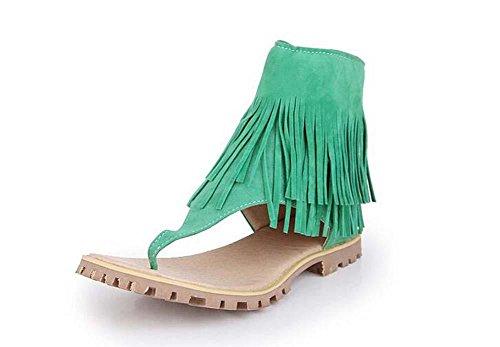 Beauqueen Sandales Femmes Summer Tassel Plain Scrub Zipper Femmes Occasionnels Chaussures Taille Spéciale Europe 32-47 Green