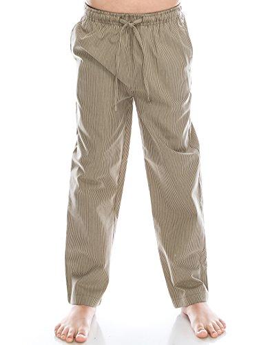 TINFL Jungen Plaid Check Soft 100% Baumwolle Flannell Pyjama Hose PB-06-Khaki-YS (Khaki Plaid Baumwolle)