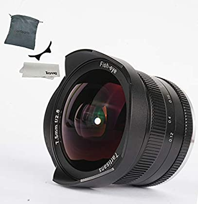 7artesanos 7,5mm F2.8APS-C Manual Lente de ojo de pez para Fujifilm Cámaras con tapa de objetivo, parasol desmontable, color negro