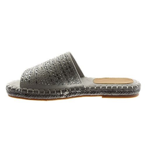 Angkorly Chaussures Mode Sandales Mules Slip-on Femme Strass Corde Finition Couture Stitching Talon 2.5cm Gris