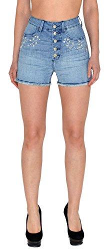by-tex Damen High Waist Shorts Damen Hotpants Damenshorts Damen High Waisted Hot-Pants Damen Jeans Damen Shorts Z41 (High-waisted Jean Shorts)