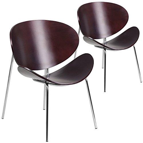 Flash Möbel 2PK. Mahagoni Bugholz Freizeit Seite Empfang Stuhl