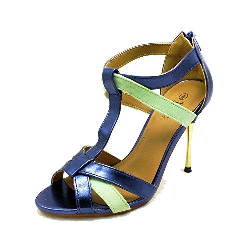sendit4me Sandali con Tacco Alto da Donna con Tacco in Metallo Dorato Blue