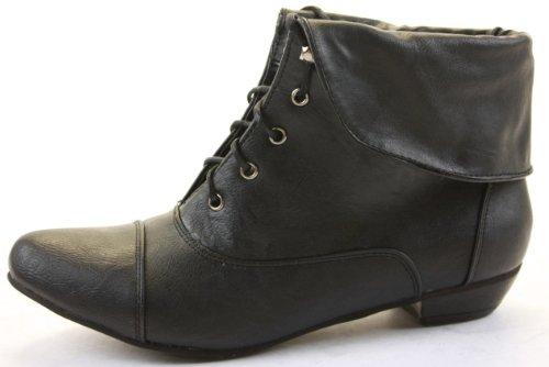shoefashionista - Enfants Filles Bottes a Lacets Vintage Chaussures Plates Bottines Style A - Noir