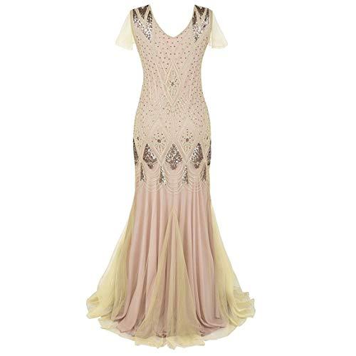 Frauen bodenlangen Kleid Damen Vintage 1920er Jahre Fransen Pailletten Spitze Party Flapper Mantel Cocktail Prom Friesen Kleid (Downton Abbey Kostüm Frauen)