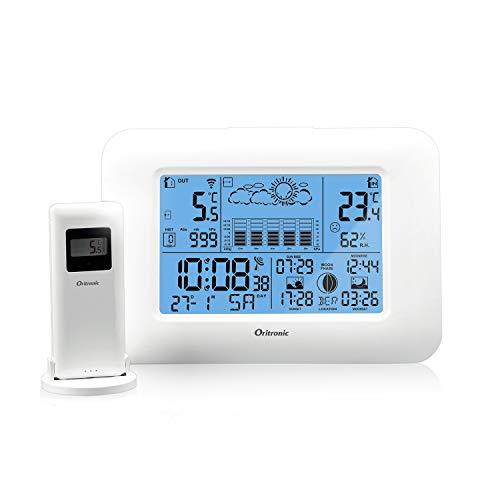 Oritronic Wetterstation Funk mit Außensensor, Wetterstationen innen und außentemperatur Funk mit wettervorhersage, digital Hygrometer für Innen, betrieben Uhr mit Thermometer(weiße)