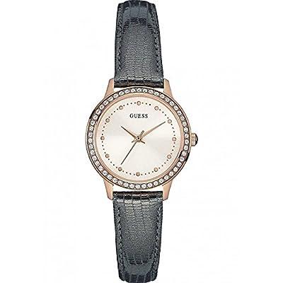 Guess Reloj de cuarzo para mujer con oro esfera analógica pantalla y azul pulsera de piel w0648l2