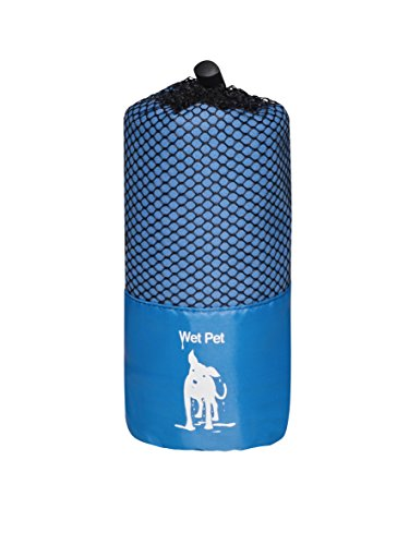 Großes Hundehandtuch (Blau) aus Mikrofaser von Wet Pet (120 x 80 cm): super saugfähig, schnelltrocknend, leicht, kompakt, hygienisch, farbenfroh und kuschelig weich. Im praktischen Beutel für Reisen und Ausflüge. Auch als Hundedecke und Welpendecke verwen