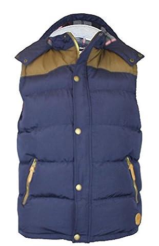 Duke Men's Kingsize Padded Body Warmer Gilet With Hood Fleece Lined-Navy-3XL