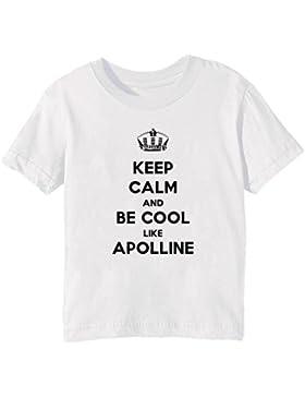 Keep Calm And Be Cool Like Apolline Bambini Unisex Ragazzi Ragazze T-Shirt Maglietta Bianco Maniche Corte Tutti...