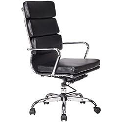 VIVA OFFICE Silla de ordenador moderna de respaldo alto de cuero natural regenerado, suave y con asiento acolchado