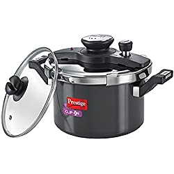 Prestige Clip On Aluminium Pressure Cooker with Glass Lid, 5 Litres, 2-Pieces, Charcoal Black