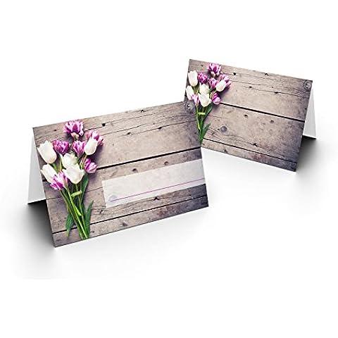 briefumschläge24Plus 100precioso Tarjetas de mesa (Tulipanes Straus) Laca UV brillante–para Bodas, cumpleaños, Bautismo, comunión, confirmación, aniversario. COMO liebevolle mesa decoración.Formato 8,5x 11,2cm