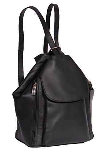 Femmes Cuir Véritable Sac à Dos Marche Cosmétique Décontractée Travail Fashion Rucksack HLG187 Noir