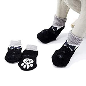 POPETPOP 4pcs Chaussettes antidérapantes pour Chien Chaussettes de Protection Anti-Griffes pour Chat, Taille intérieure, Taille S