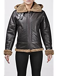Women's Brown Shearling Hooded Sheepskin Flying Leather Jacket With Ginger Fur Comfort fit