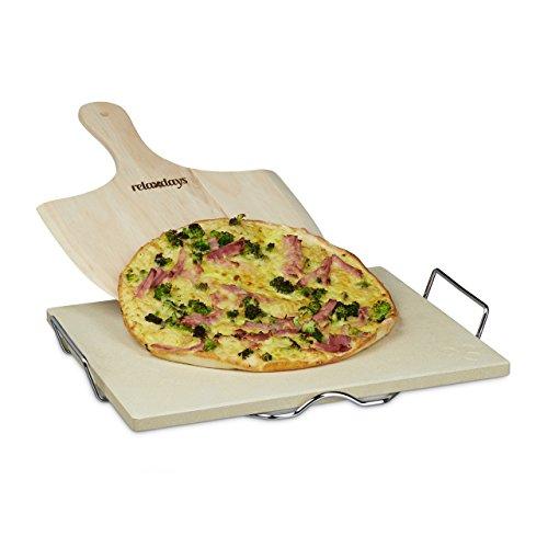 Relaxdays - Piedra para pizza, 1.5 x 38 x 30 cm, rectangular, con soporte y...