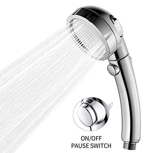 Duschkopf Handbrause Wassersparend mit Druckerhöhung für mehr Wasserdruck - Brausekopf für Niederdruck geeignet - Regendusche und Massage Funktion, 3 Strahlarten, Chrom/weiß, mit Offener Taste